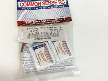 Selling: Common sense Lectron Pro 3.7v 400mah 20c Lipo battery(2pack)