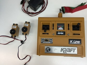 Selling: Vintage Kraft K Line KP4K radio w/two servos and charger