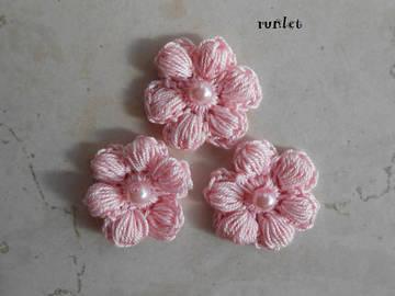 Vente au détail: fleur au crochet,fleur a coudre/fleur coton/Application fleu