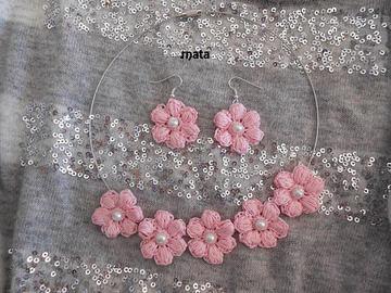 Vente au détail: parure bijoux fleur/parure bijoux/parure mariage/ fleur rose