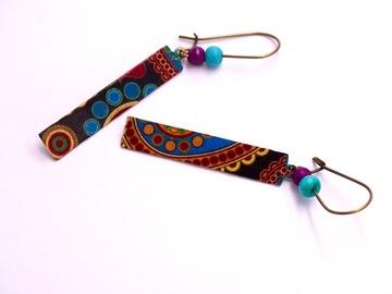 Vente au détail: Boucles d'oreilles fantaisie, métal bronze, perles os