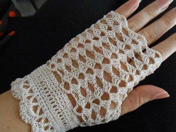 Vente au détail: Mitaines femme au crochet dentelle mariage/mitaines crochet/
