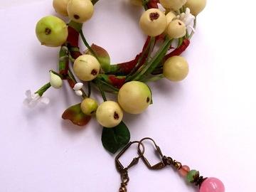 Vente au détail: Boucles d'oreilles fantaisie, perles verre, métal bronze