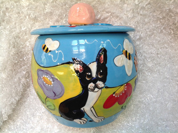 Selling: Hand Painted BOSTON TERRIER Ceramic Cookie Jar