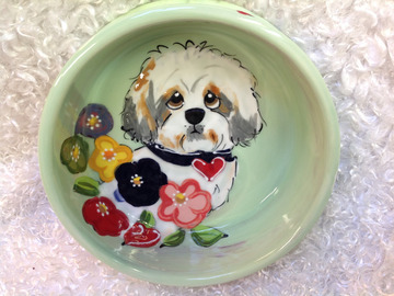 Selling: Hand Painted Ceramic Dog Bowl SHIH TZU for Food or Water