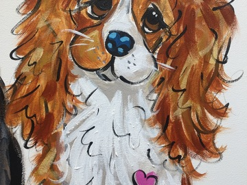 Selling: Canvas painting of a King Charles Cavalier