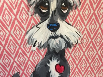 Selling: Original Hand Painted Pillow featuring  whimsical Schnauzer