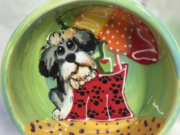 Selling: Hand Painted Ceramic  Dog Bowl for Food or Water