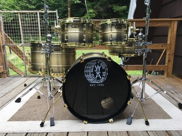 Selling with online payment or cash/check/money order/cash app/Venmo: 2018 Walberg & Auge All Brass Shell Drum Set