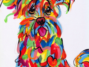 Selling: Hand Painted Whimsical Dog Art on Canvas, Ready to Hang
