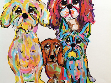 Selling: Dog painting on Canvas in Whimsical Colors