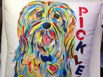 Selling: Hand Painted Original Dog PILLOW by Debby Carman