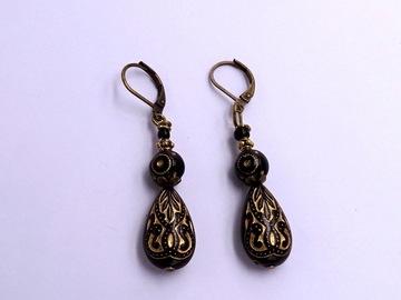 Vente au détail: Boucles d'oreilles ethniques, résine, laiton bronze, verre