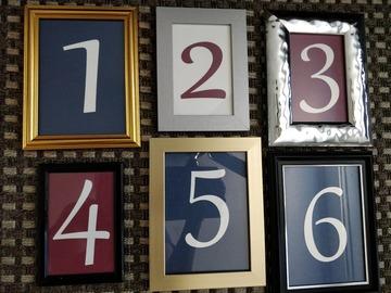 Ilmoitus: Erilaisia kehyksiä & pöytänumerot 1-6