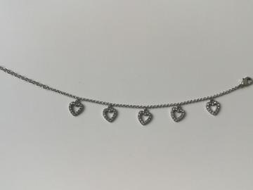 Myydään: Pilgrim Silver heart bracelet with crystals