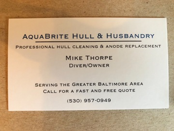 Offering: Professional Hull Cleaning/Zincs/Prop Pulling