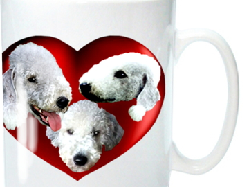 Selling: Bedlington Terrier Mug, 3 Cute Bedlingtons in a Red Heart