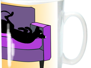 Selling: Greyhounds & Whippets on Sofa Mug, Purple & Black Colors