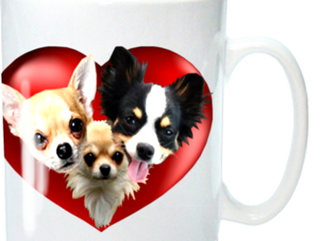 Selling: Chihuahua Mug,  shows 3 cute Chihuahuas in a Rich Red Heart