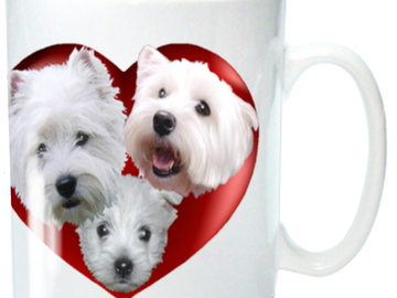 Selling: West Highland White Terrier Mug with 3 Westies in a Heart