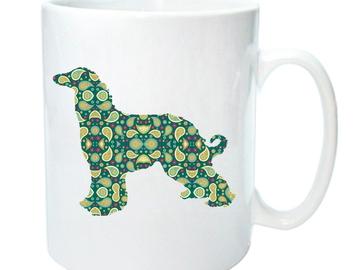 Selling: Afghan Hound Mug - Paisley Afghan Silhouette