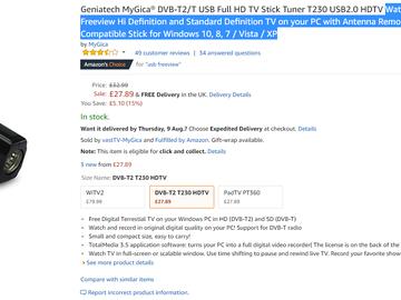 TV Stick Tuner T230 USB2 0 HDTV - Aalto Marketplace