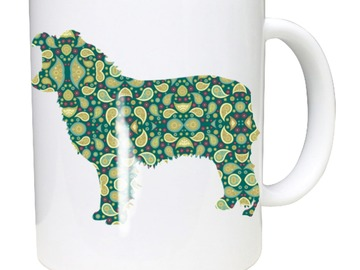 Selling: Border Collie Mug shows Border Collie in Paisley Silhouette