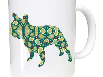 Selling: French Bulldog Mug with Paisley French Bulldog Silhouettes