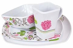 Bulk Lot: Lot of 150 Cute Kitchenware - 4 piece Melamine Dinner Set