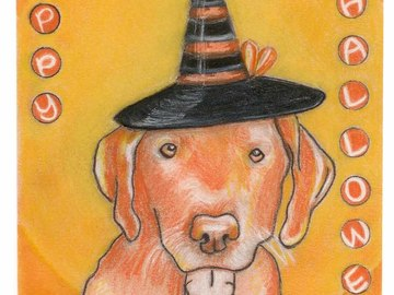 Selling: Labrador Art Halloween Greeting Card