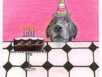 Selling: Funny Labrador Art Greeting Card