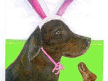 Selling: Easter Bunny Imposter Labrador Greeting Easter Card
