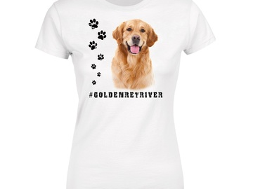 Selling: GOLDEN RETRIEVER 2 Womens T Shirt Hashtag Dog Breed Print