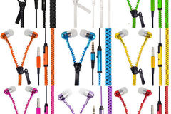 Bulk Lot: 50x Units of 3.5mm Stereo Zipper Headset in Assorted Colors