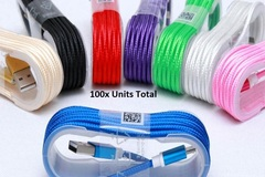 Bulk Lot: 100x 1.5M 5FT Braided USB Micro, Apple, or Type-C Cable.