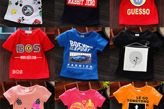 Bulk Lot: 100 pc Mixed Lot  Summer children's short sleeve t-shirt