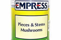 Bulk Lot: Canned Pieces & Stems Mushrooms, Net Drained wt. 68 oz.
