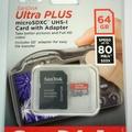 Bulk Lot: 2 pc, lot SanDisk Ultra PLUS 64GB microSD Cards W/ Adapters