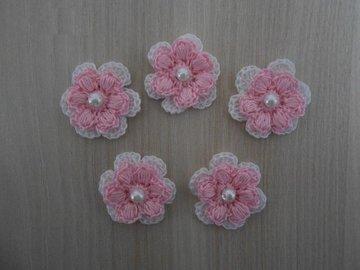 Vente au détail: fleurs blanches rose au crochet/fleurs au crochet/fleur