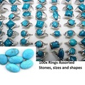 Bulk Lot: 100x Mixed Sizes Turquoise Gemstone silver Plated