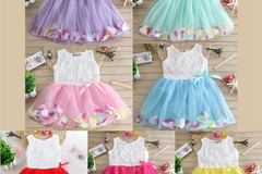 Bulk Lot: 100 pc Mixed Lot Girls' petal  sleeveless   floral dress