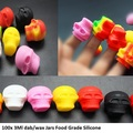 Bulk Lot: 100x 3ML Skull Mini Non-Stick Silicone Containers.