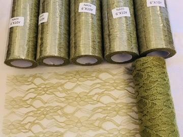 Ilmoitus: Vaaleanvihreää kaitaliinaa 5 avaamatonta rullaa (n. 9m/pkt)