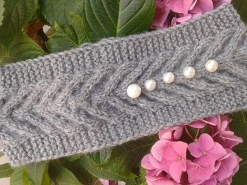 Vente au détail: Bandeaux et turbans gris,Bandeau torsadé en laine/Bandeau en
