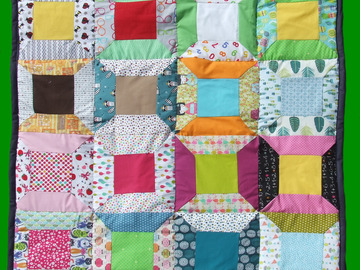 Vente au détail: Plaid en patchwork cousu mains
