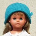 Vente au détail: Bonnet turquoise et son petit noeud