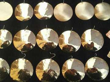 Selling: Red Brass Disc Earrings