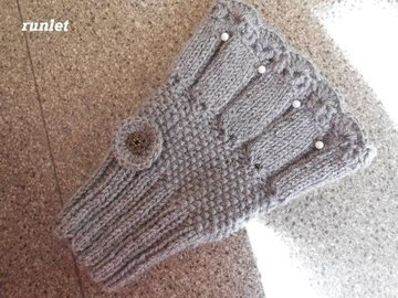 Vente au détail: Manchettes-mitaines tricotées gris en laine