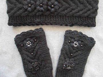 Vente au détail: bandeau et mitaines noires/accessoires tricotés/bandeau chau
