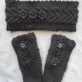 Sale retail: bandeau et mitaines noires/accessoires tricotés/bandeau chau